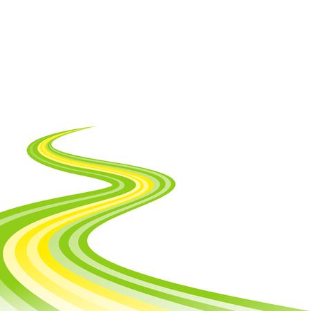 curved road: Abstract waving green yellow green ribbon flag