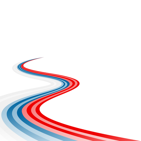 curved road: Abstract waving white blue red ribbon flag