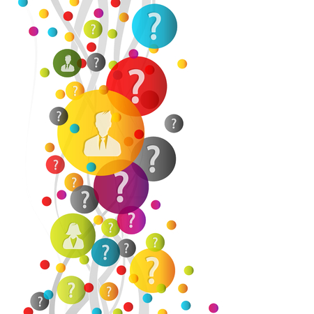 questioning: Abstract questions colorful concept illustration