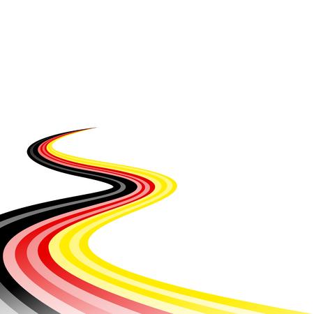 Abstract waving black yellow red ribbon flag Illustration