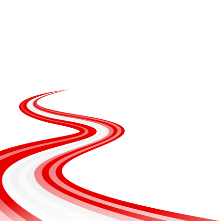 curved road: Abstract waving red white red ribbon flag
