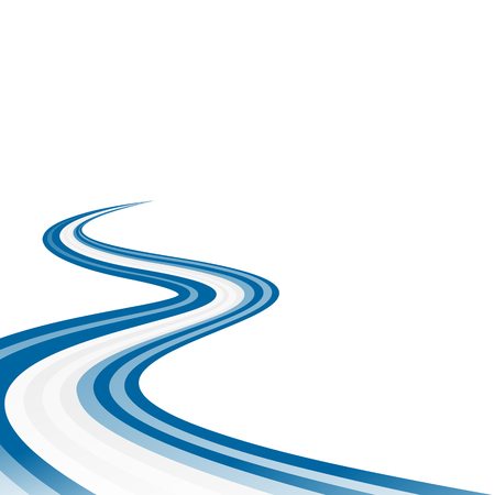 winding road: Abstract waving blue white blue ribbon flag Illustration