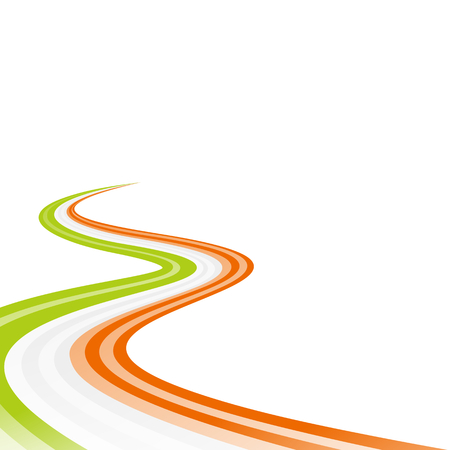Abstract waving green white orange ribbon flag Vector