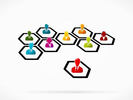 합류 비즈니스 네트워크의 추상 그림