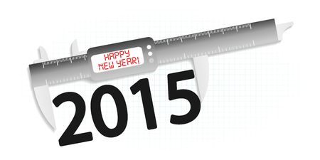 exact: Happy new year 2015 precision measuring tool concept