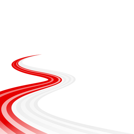 curved road: Abstract waving red white ribbon flag