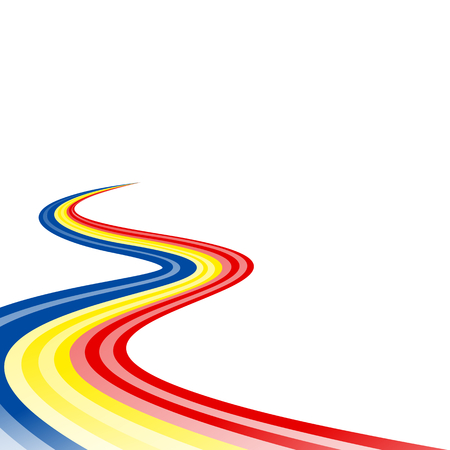 Abstract waving blue yellow red ribbon flag Illustration