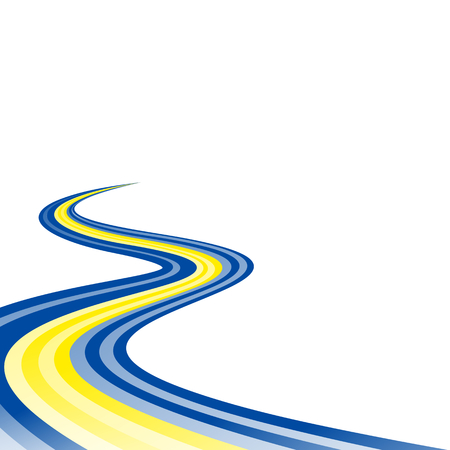 curved road: Abstract waving blue yellow blue ribbon flag
