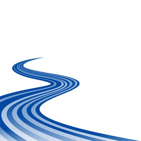 curved road: Abstract waving blue ribbon flag