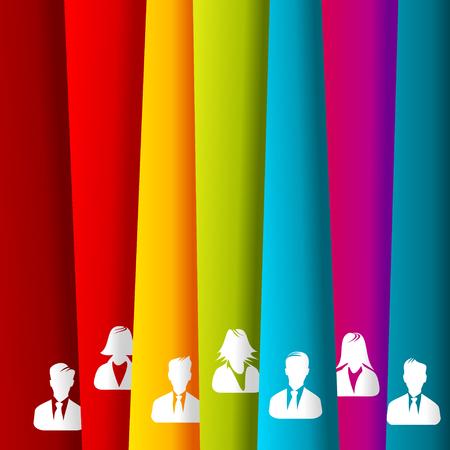 unknown gender: Vertical irregular stripes people group avatar Illustration