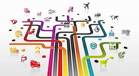 buen servicio: Ilustraci�n abstracta con la infraestructura log�stica