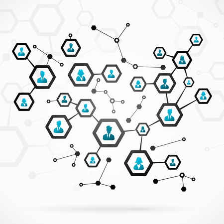 Abstract illustration with complex business network Vettoriali