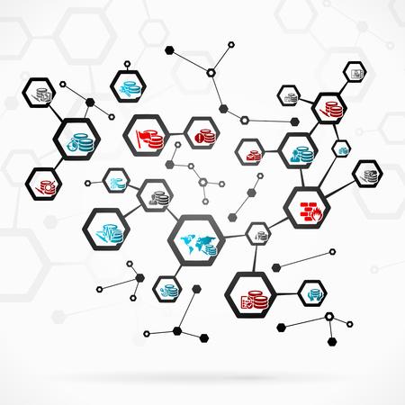Résumé illustration avec le réseau de base de données complexe Vecteurs