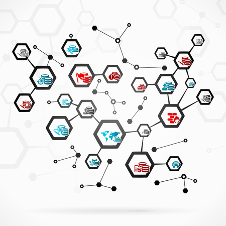 Abstract illustration with complex database network