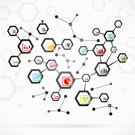Abstract illustration with complex infographics network