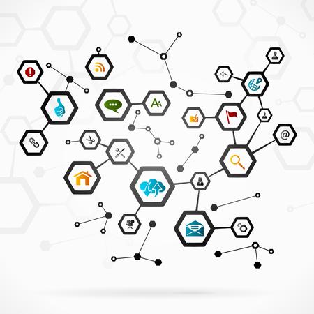 Abstract illustration with complex internet network Ilustração