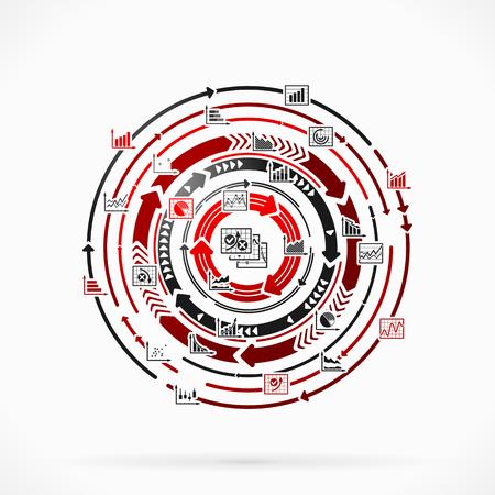 circulos concentricos: Estadísticas Infografía abstracto concepto de ilustración