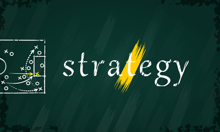 Abstract concept illustration about strategy sketched on a blackboard Vector