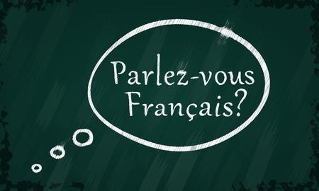 francais: Blackboard with speak French speech bubble Illustration
