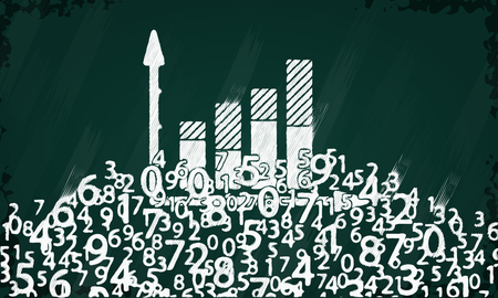 representation: Statistics symbol sketched on a blackboard