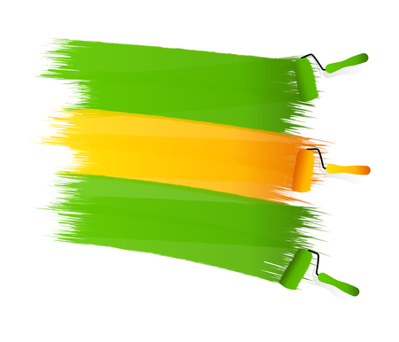 Abstract green yellow green flag painted on a white wall Vector