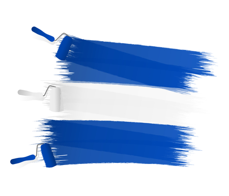 Abstract blue white blue flag painted on a white wall