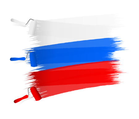 czech flag: Abstract white blue red flag painted on a white wall