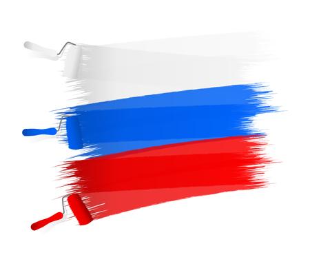 bandera chilena: Blanco azul bandera roja abstracta pintada sobre una pared blanca