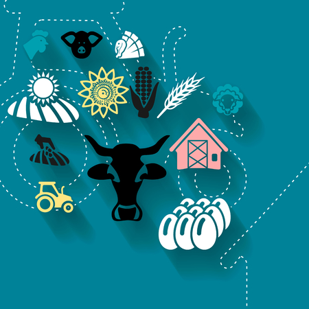 husbandry: Abstract concept vector illustration with agriculture industry Illustration