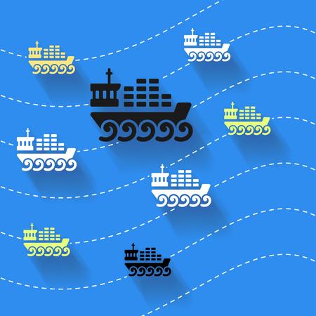 sea freight: Abstract art illustration about cargo ships Illustration