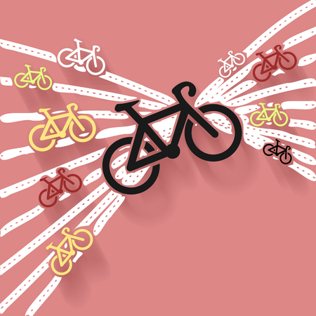 bike trail: Abstract art illustration about bicycles and trails