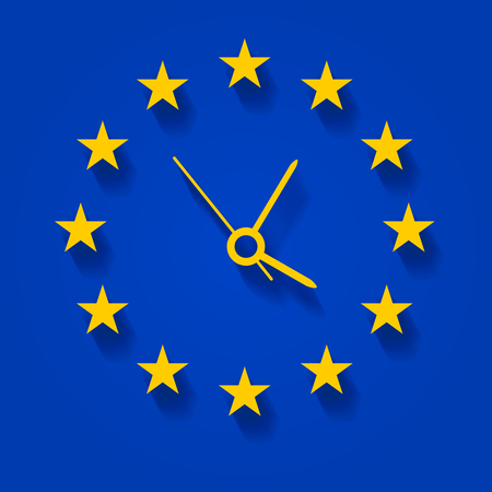 Abstract clock over European flag Vector