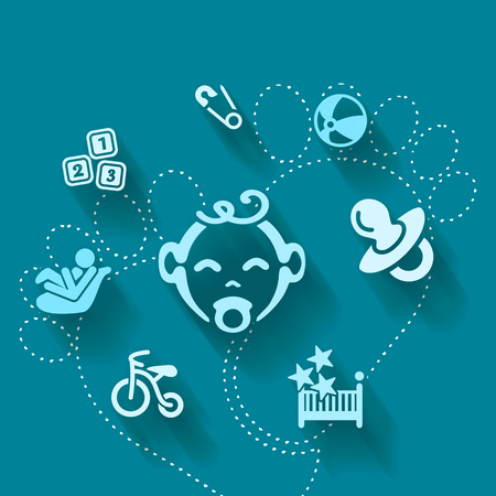 tricycle: Abstract illustration with baby boy shower Illustration