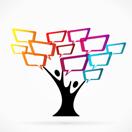 trees services: Abstract illustration with communication tree  Illustration