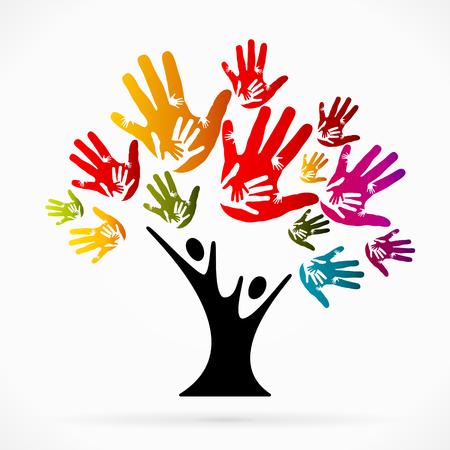 Abstracte illustratie met het helpen van boom