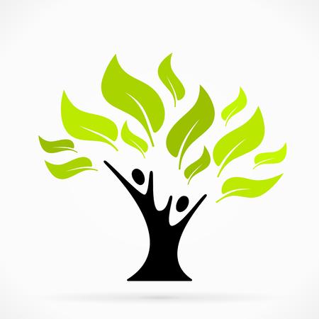 생활의 녹색 나무와 추상 그림