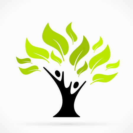 Abstract illustration   with green tree of life Illustration