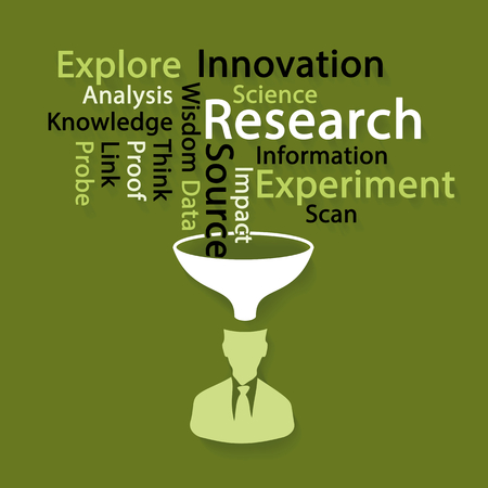 knowledge concept: Innovation research word cloud illustration