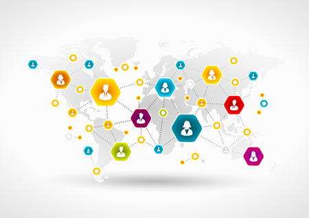 Community network around the world Illustration