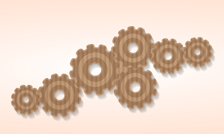 Gear cog icons cut out from a cardboard sheet Vector
