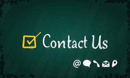write us: Contact us and checkbox written on blackboard