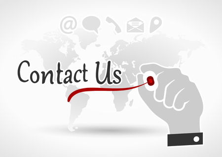 Hand writing Contact Us with red marker on world background Vector