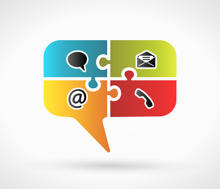 Website and Internet contact us speech symbol concept with contact icons