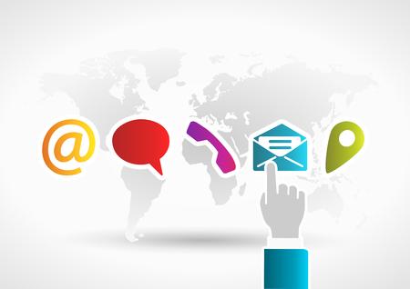 Kontaktieren Sie uns Konzept mit Hand berühren Mail-Symbol auf den Welt Hintergrund Illustration