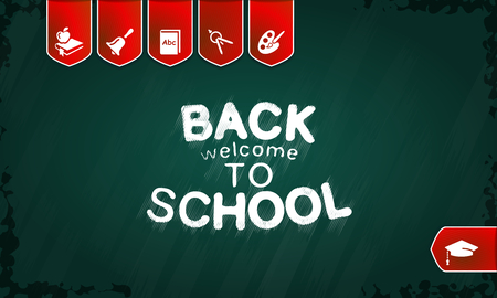 Welcome back to school poster with text on chalkboard vector illustration