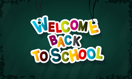 green back: Welcome back to school colorful vector text illustration