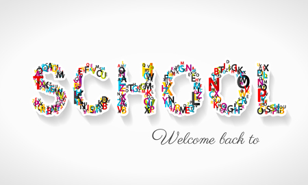 Welcome back to school vector illustration made from letters Illustration