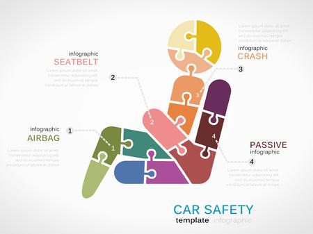 cinturon seguridad: Plantilla Infografía con cinturón de seguridad hecha de piezas de un rompecabezas Vectores