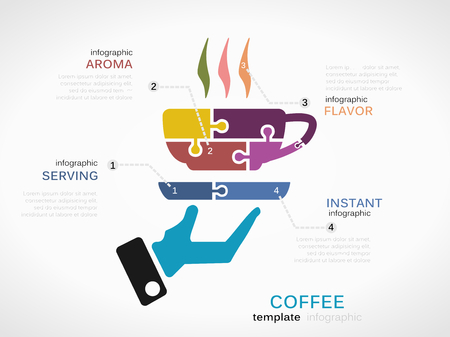 Infographic template with coffee cup made out of puzzle pieces Vector