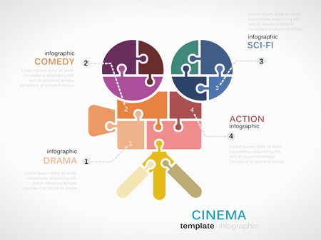 comedic: Cinema infographic template with camera made out of puzzle pieces